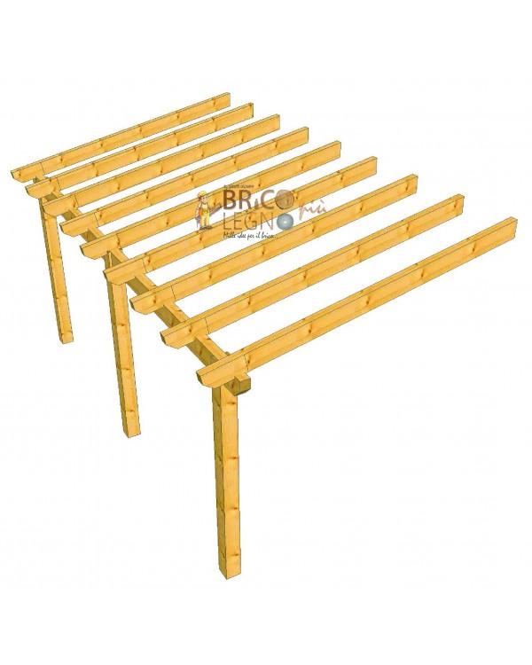 Tettoia in legno addossata una falda 6x3 30 metri in kit for Costruire una tettoia addossata